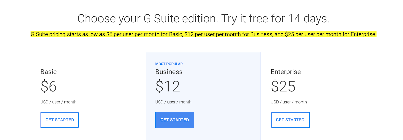 how much does g suite cost